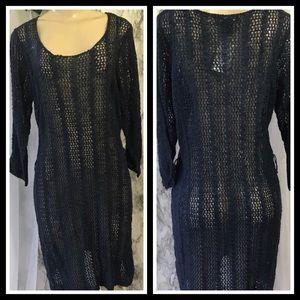 Dresses & Skirts - Navy Fishnet Dress